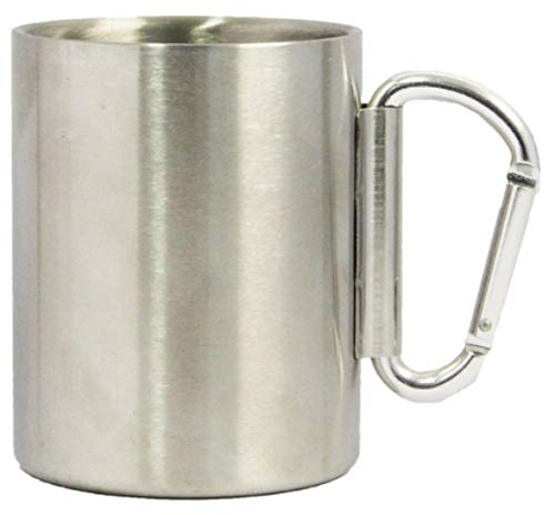 Stainless Steel carabiner mug With New Foldable Carabiner handle (14oz)