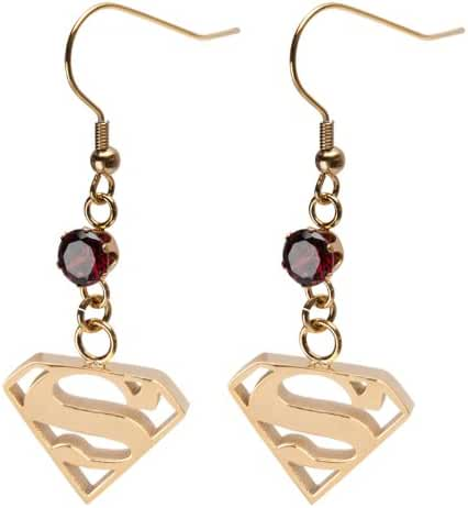 INOX 316L Stainless Steel IP Gold Tone Superman Dangle Earrings with Red Gem