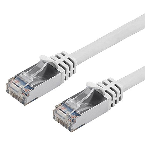Buhbo 10 ft CAT7 Shielded RJ45 Ethernet Network Snagless Cable 10Gbps 600 MHz, White