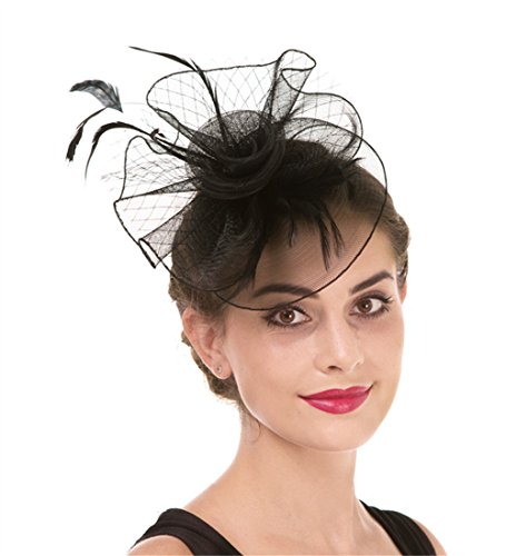 Fascinator Haojing Feather Mesh Flower on a Headband and a Clip Royal Tea Party Derby Headwear for Girls and Women(HJ1-Black) -