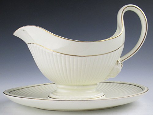 Wedgwood China EDME GOLD TRIM Gravyboat with Attached Underplate(s) EX Gold Trim Gravy Boat