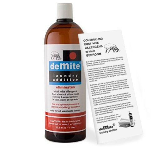 DeMite Laundry Additive (1 Liter) Allergen Eliminator with Bonus Expert Pro Tips to Eliminate Dust Mite Allergens ()