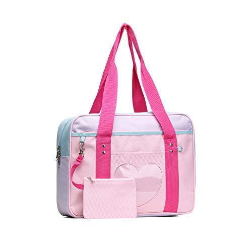 SteamedBun Ita Bag Heart Nylon Handbag Girls Women Bags Weekender Anime School Bag for Cosplay,Red Straps