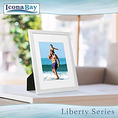 Icona Bay 11x14 Frame with Mat to Display 8x10 Photos (1 Pack, White), Sturdy Wood Composite Frame, Tabletop and Wall Hang Hardware Included with White Picture Frames, Liberty Collection