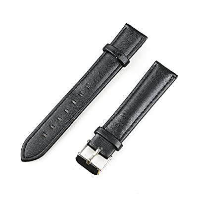 NICERIO 18mm Leather Watch Band Replacement Strap with Metal Tang Buckle - Black from NICERIO