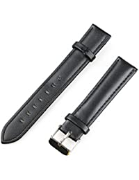 18mm Leather Watch Band Replacement Strap with Metal Tang Buckle - Black