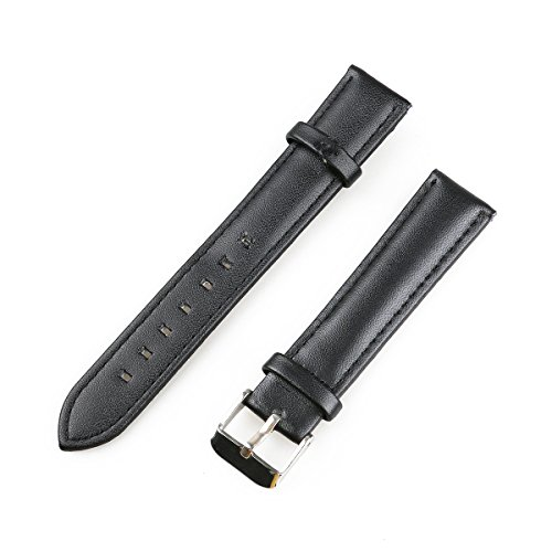 NICERIO 18mm Leather Watch Band Replacement Strap with Metal Tang Buckle - Black
