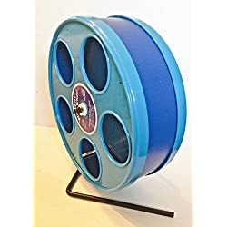"SUGAR GLIDER/SMALL ANIMAL JUNIOR 8"" WODENT EXERCISE WHEEL WITH BLUE PANELS AND DARK BLUE TRACK"