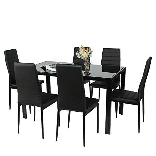 BAHOM 7 Piece Kitchen Dining Table Set for 6, Glass Dining Table and 6 Chairs PU Leather for Breakfast (2 Boxes)