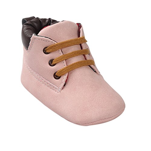 Vanbuy Baby Boys Girls Soft Pu Leather High Top Shoes Toddler Sneakers Babies Walker Shoes Anti-Slip Boots Pink-M - Baby High Top Shoes Pink