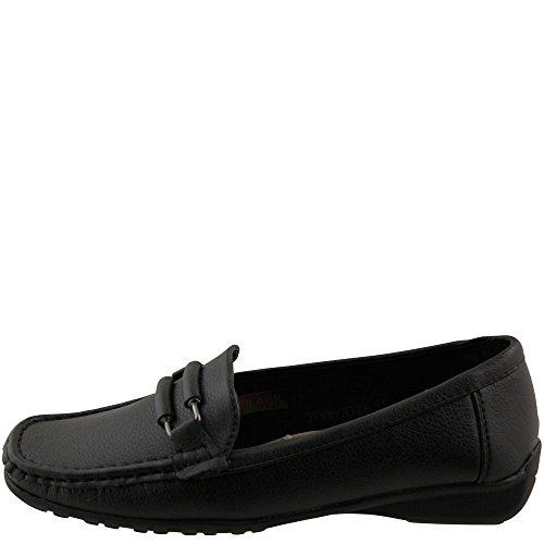 Klassischer Damen Mokassin Halbschuh Damenschuh Leder Optik schwarz A1075