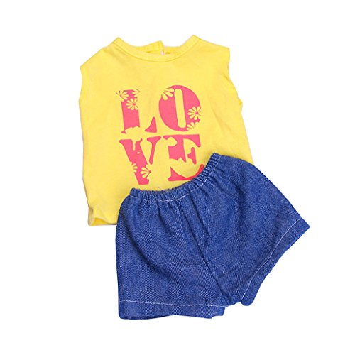 "Dovewill Handmade Fashion LOVE Print T-shirt Pants Sports Clothes Outfit for 18"" American Girl Doll"