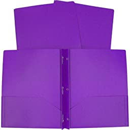 3-Prong Poly Folders, Available in Multiple Colors/ Colors may vary 5 pack