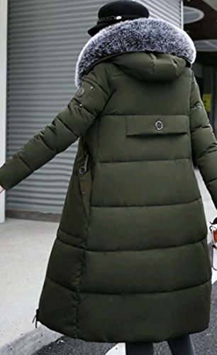 amp;S Long Thick Down Coat Collar Hooded Long amp;W Sleeve M Green Fur Women's Army gwqffdS