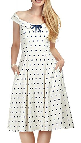 mit Polka Dress Dot Virginnia Dots Damen Punkte Cremeweiß Collectif Swing Kleid HzqpfqxU