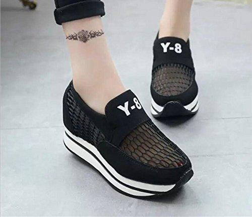 Rosa Talla para 35 Deporte Zapatos Transpirable de Negro Zapatillas Casuales Gris con Plataforma Negro atléticos Mujer 39 qnngT7wOB