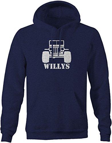 Willys Jeep Military CJ Flat Fenders Split Grill Pullover Sweatshirt - (Fender Grill)