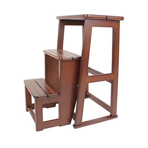 All solid wood three staircase stool / staircase stool / dual-use folding ladder / home wood ladder / indoor two / three ladder ( Color : Brown , Size : 405160.5CM ) by Xin-stool