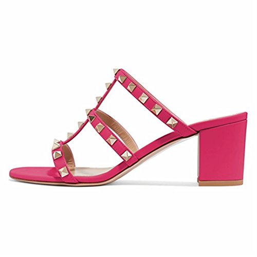 Mid Open Donna con EU Caitlin Borchie Sandali Dress 35 Borchie per Heels Slide con Slipper 50 Mm 45 Block Pan Rosa Sandals Toe Chunky Heel 7qZqpn8C