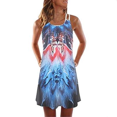 MURTIAL Women's Tank Dress Vintage Boho Summer Sleeveless Beach Printed Short Mini Dress