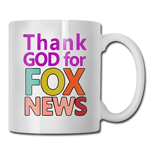 Fox News Logo Thank God For Fox News Coffee Mug Best Gift For Him/Her, 11-oz White Mug