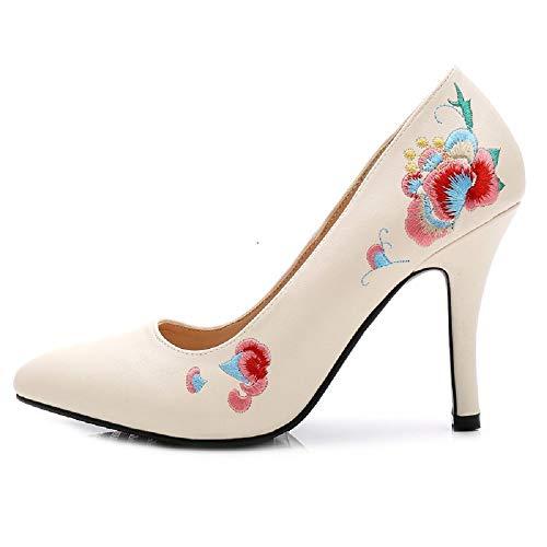 Beige sulle Dimensione con a scarpe tacco Beige fiore 36 donna Tacco da spillo EU Colore con punta a a Fuxitoggo ricamo Xn6qwOTxaW