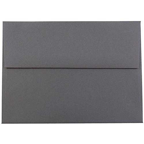 "JAM Paper A6 Invitation Envelopes - 4 3/4"" x 6 1/2"" - Dark Gray - 50/pack"