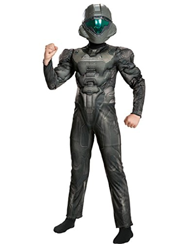 Halo Spartan Buck Classic Muscle Costume, Black, X-Large (14-16) -