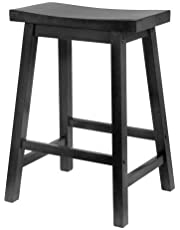 PJ Wood 24-Inch Saddle Seat Counter Stool - Black