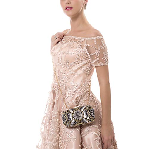 Retro Beaded Shoulder Bag Beaded Bag Wedding ULKpiaoliang Bags Small YM1142white Diamond Clutch Crystal Rhinestone Evening Bags Women's wqItfX6