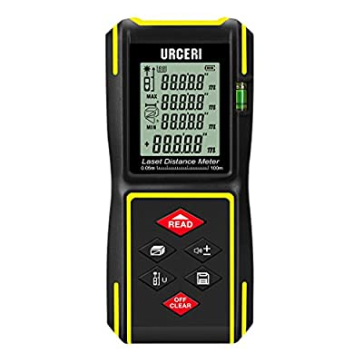 URCERI Laser Distance Meter with IP54 Waterproof Shell, Bubble Levels, Single Continuous Modes, +/- 2mm Accuracy, Battery Included, Up to 131ft / 198ft / 330ft ( 40m / 60m / 100m )