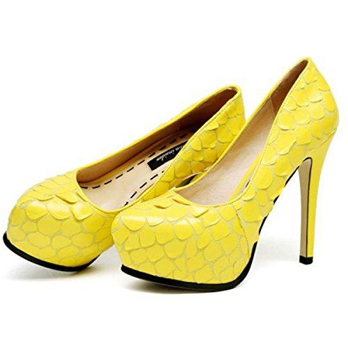 Frauen Plattform High Heels Flache Hochzeit Patry Schuhe Damen Geschlossene Zehe Pumps Hochzeit Court Schuhe LemonYellow