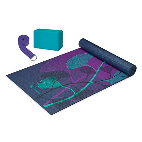 Gaiam Beginner's Yoga Kit (Yoga Mat, Yoga Block, Yoga Strap), Lily Shadows