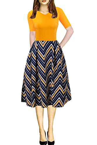 Striped Dresses for Women Short Sleeve Classic Holiday Dress with Pocket Summer Clothing Yellow XL ()