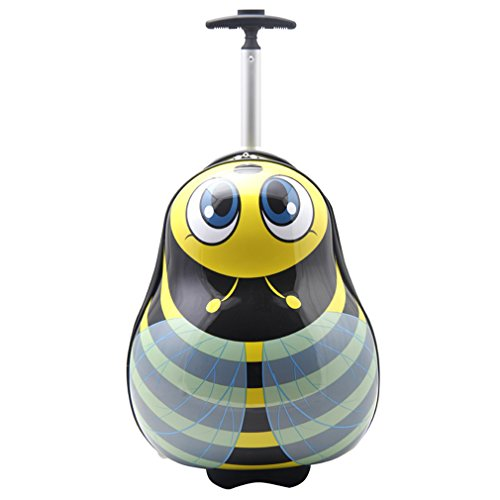 SMJM ABS Hard Side Cartoon Kid's Luggage with Wheels for Girls and Boys (16 inch, Honeybee) by SMJM