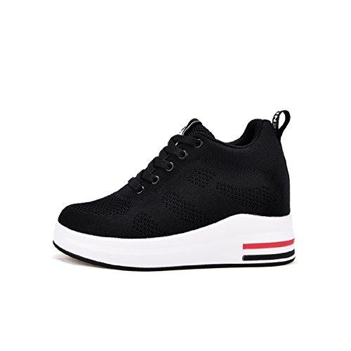 LILY999 Alta Plataforma Cuña 8cm de Mujer Zapatillas Deporte Negro Para Zapatillas Sneakers Talón Transpirables de rZxPpWrqR