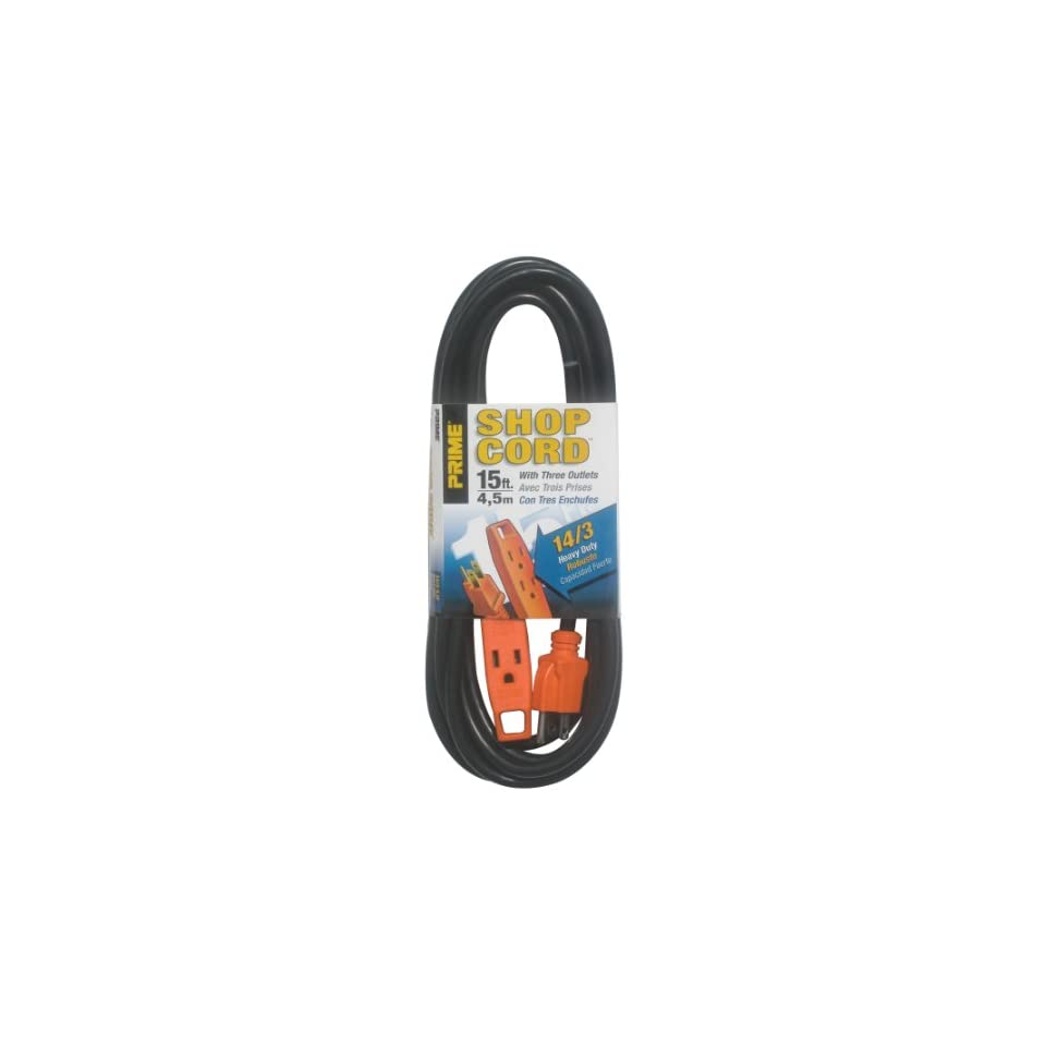 Prime Wire & Cable EC890715 15 Foot 14/3 SJT 3 Outlet Indoor Shop and Utility Extension Cord, Black and Orange