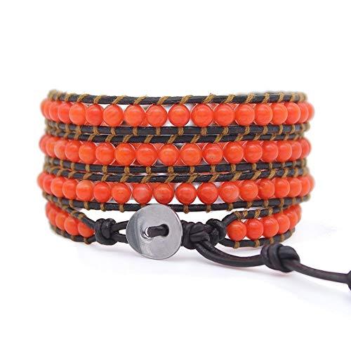 Orange Genuine Bracelets (MOSNOS Handmade Adjustable Leather Orange Coral Wrap Bracelet Fits for 6.5-7.5 Inches Wrist)