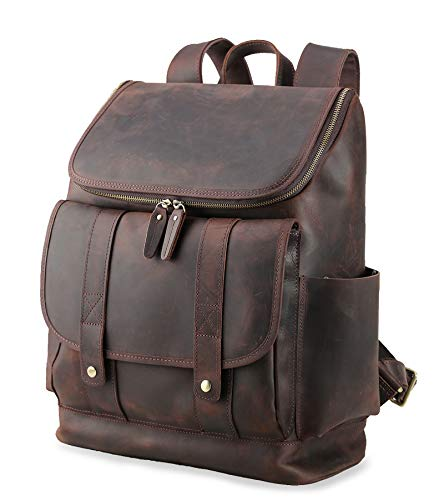 (Texbo Vintage Real Cowhide Leather 15.6 Inch Laptop Backpack Travel Bag School Shoulder Bag)