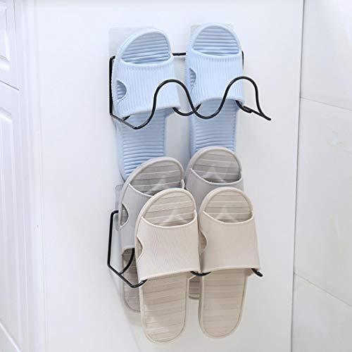 - Nessere Bathroom Wall Hanging 2 Tier Shoes Rack Slipper Shelf Storage Organizer,Paste Slippers Shelf Racks Shoes Shelf for Entryway Bathroom Shower (White)