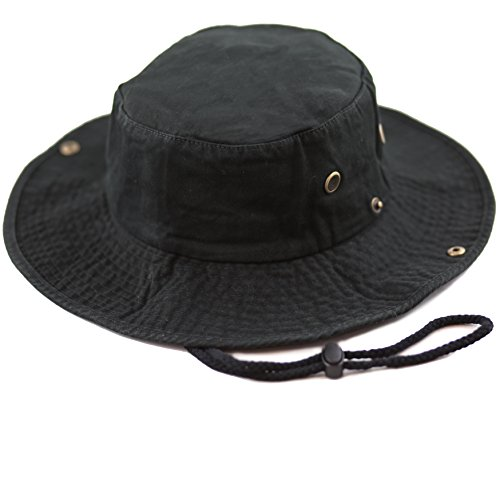 THE HAT DEPOT 300N1510 Wide Brim Foldable Double-Sided Outdoor boonie Bucket Hat (S/M, - Blacks All Hats