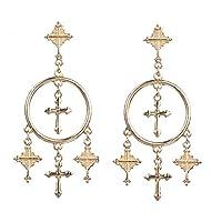 GUYUEXING Cross Tassel Hoop Dangle Earrings for Women Girls (Gold)