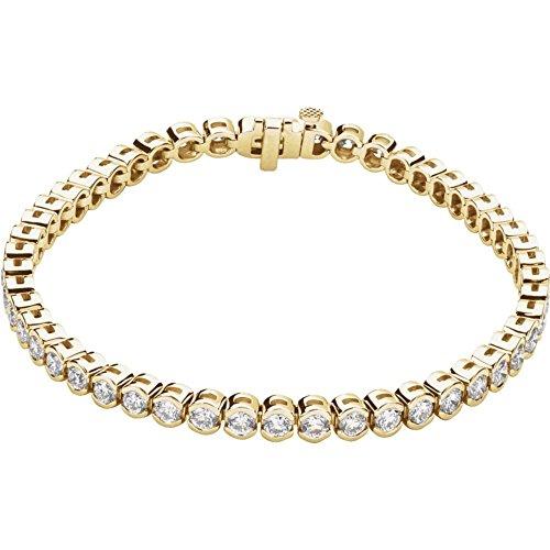 "14k Yellow Gold 6.00 Ct Round Diamond (I1/G-H) 7.25"" Line Tennis Bracelet"