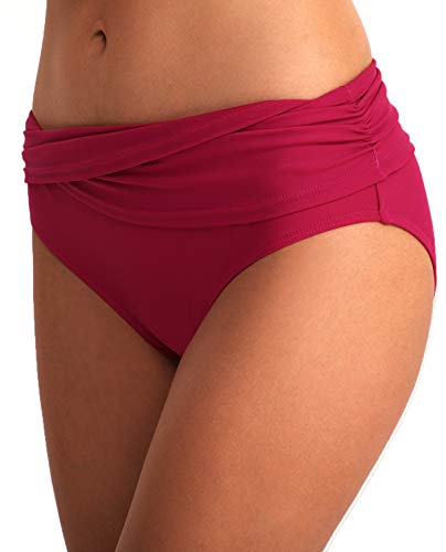 YOSUNL Women's Bikini Bottom Front Crossover Retro Bikini Bottom Tankini Briefs Swimsuit Panty Bottoms Pink - Pink Bottoms