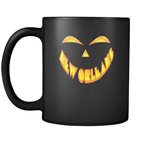 New Orleans Jack O' Lantern Pumpkin Face Halloween Ceramic Mug 11oz Black Coffee Mug Tea Cup