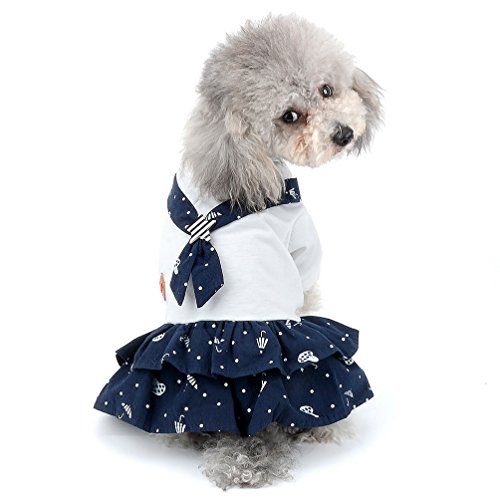 SELMAI [New 2018] Pet Sailor Costume Dress for Small Dog Matching Outfits Printed Puppy Clothes Girl Size S