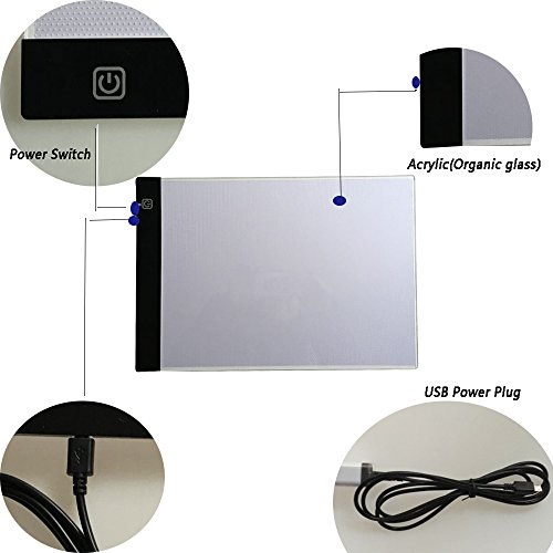 Funshobby A4 LED Light Box Ultra-thin Portable LED Pad USB Power Tracing Light Box Light Table for Kids 2D Animation Drawing Artists Tattoo Transferring Sketching