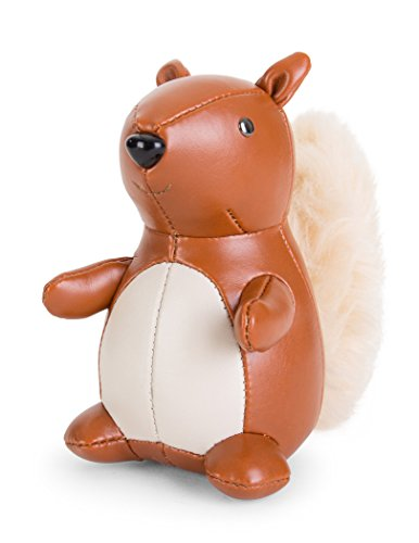 Zuny Squirrel Faux Leather Animal Bookend - Tan