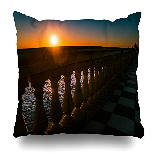 Ahawoso Throw Pillow Cover Color Leghorn Livorno Tuscany Italy Promenade Mascagni Terrace Bay at Night Coast Black White Pillow Case Square Size 20 x 20 Inches Home Decor Cushion Pillowcase ()