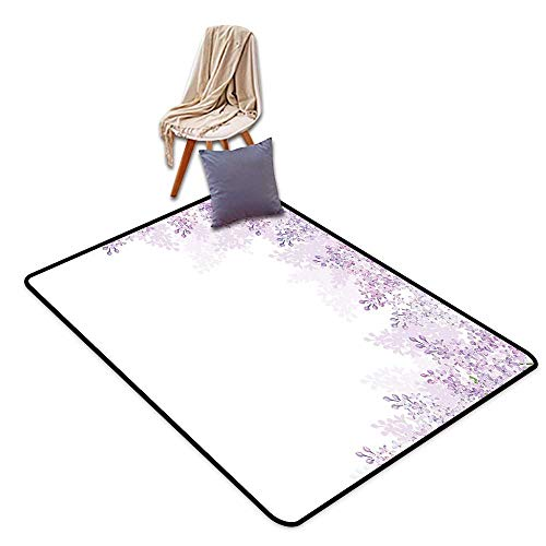 Non-Slip Door mat Flower Framing Lilac Flowers in Blossom Vernal Season Soothing Color Shades W6'xL8' Suitable for Family